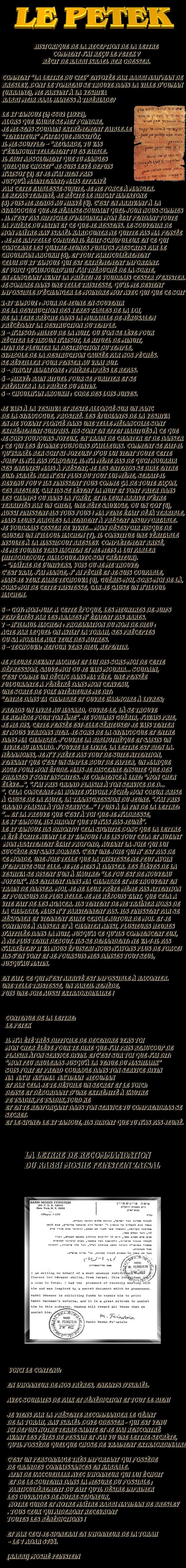LE PÉTÈK – La Lettre du Ciel